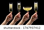 Set Of Hands Olding Glass Of...