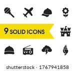 seasonal icons set with cap ...