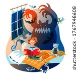 boy is reading horror book. kid ... | Shutterstock .eps vector #1767948608