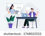 a man meeting online with a...   Shutterstock .eps vector #1768022522