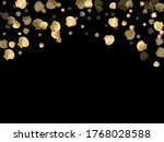 Gold seashells vector, golden pearl bivalved mollusks. Cute scallop, bivalve pearl shell, marine mollusk isolated on black wild life nature background. Chic gold sea shell vector.