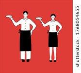 waiter and waitress wear masks... | Shutterstock .eps vector #1768054655