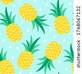 seamless pattern with pineapple ...   Shutterstock .eps vector #1768067132