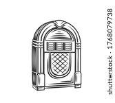 retro jukebox monochrome icon....   Shutterstock .eps vector #1768079738