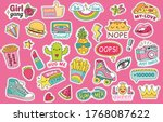 fashioned girl badges  stickers ... | Shutterstock .eps vector #1768087622