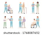 nurse cares of patient. family... | Shutterstock .eps vector #1768087652