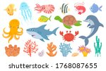 cartoon sea life. cute sea fish ... | Shutterstock .eps vector #1768087655