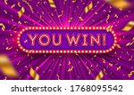you win    neon light retro... | Shutterstock .eps vector #1768095542