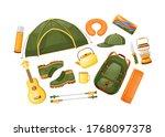 camping gear flat color vector...   Shutterstock .eps vector #1768097378