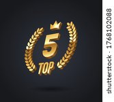 top 5 award emblem. golden... | Shutterstock .eps vector #1768102088