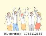 business  team  celebration ... | Shutterstock .eps vector #1768112858