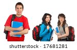 three students with books and... | Shutterstock . vector #17681281