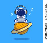 Cute Astronaut Listening Music...