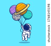 cute astronaut floating with... | Shutterstock .eps vector #1768145198
