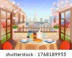 panorama paris street with open ... | Shutterstock .eps vector #1768189955
