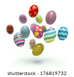 Colorful Easter Eggs. 3d Rende...