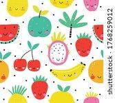 happy kawaii fruits summer... | Shutterstock .eps vector #1768259012
