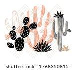 cactus succulent wild rose... | Shutterstock .eps vector #1768350815