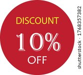 10  off discount round sign.