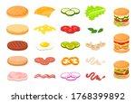 various burger sliced...   Shutterstock .eps vector #1768399892