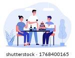 group of friends celebrating... | Shutterstock .eps vector #1768400165