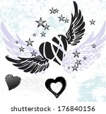 hearts  wings and stars on... | Shutterstock .eps vector #176840156