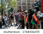 Small photo of New York, NY - July 2, 2020: Assembly member Charles Barron organized Reparation Rally and Press Conference at NYC African Burial Ground Memorial