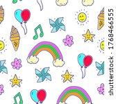 colorful miscellaneous doodle...   Shutterstock .eps vector #1768466555
