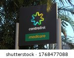 Small photo of Sydney, NSW / Australia - July 3 2020: Robodebt: total value of unlawful debts issued under Centrelink scheme to exceed $1bn. Pictured is Centrelink and Medicare corporate signage
