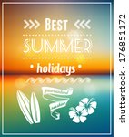 summer vacations poster design  ... | Shutterstock .eps vector #176851172