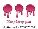 raspberry drip jam 3d set.... | Shutterstock .eps vector #1768573298