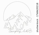 single line camping life... | Shutterstock .eps vector #1768620218