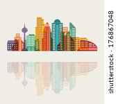 cityscape background with... | Shutterstock .eps vector #176867048