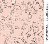 pattern of linear sketch woman... | Shutterstock .eps vector #1768681118