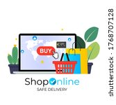 online shopping  save delivery...   Shutterstock .eps vector #1768707128
