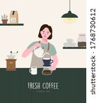 barista woman making coffee on... | Shutterstock .eps vector #1768730612
