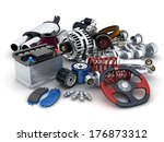 many auto parts  done in 3d  | Shutterstock . vector #176873312