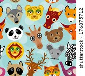 seamless pattern with funny... | Shutterstock . vector #176875712