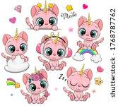 set of cute cartoon pink... | Shutterstock .eps vector #1768787762