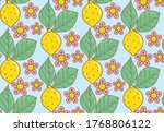lemons tree plant flower pattter | Shutterstock . vector #1768806122