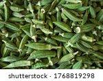 Fresh Green Okra On A Woven...