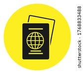 passport icon or logo on yellow ...