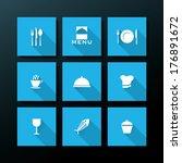flat restaurant icon set  ...