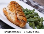 grilled chicken meat with green ... | Shutterstock . vector #176895458