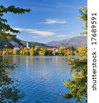 Lake Bled Slovenia in Autumn - Popular tourist Destination - stock photo