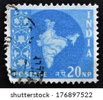 india   circa 1957  a stamp... | Shutterstock . vector #176897522