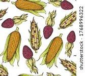 corn  maize seamless pattern.... | Shutterstock .eps vector #1768996322
