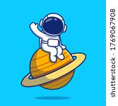 cute astronaut sitting on...   Shutterstock .eps vector #1769067908