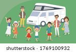 family vacation in camping rv... | Shutterstock .eps vector #1769100932