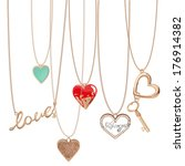 golden jewelry chain with heart ... | Shutterstock .eps vector #176914382